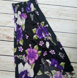 Steven Wear Hibiscus Shirred Floral Hawaiian Dress